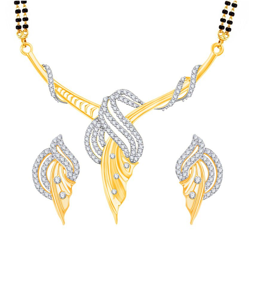 Vk Jewels Fabulous Design Gold And Rhodium Plated Mangalsutra Pendant Set With Earrings