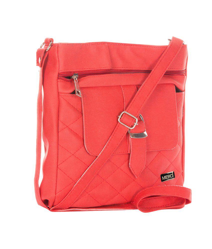 Merci Red P.u. Sling Bag