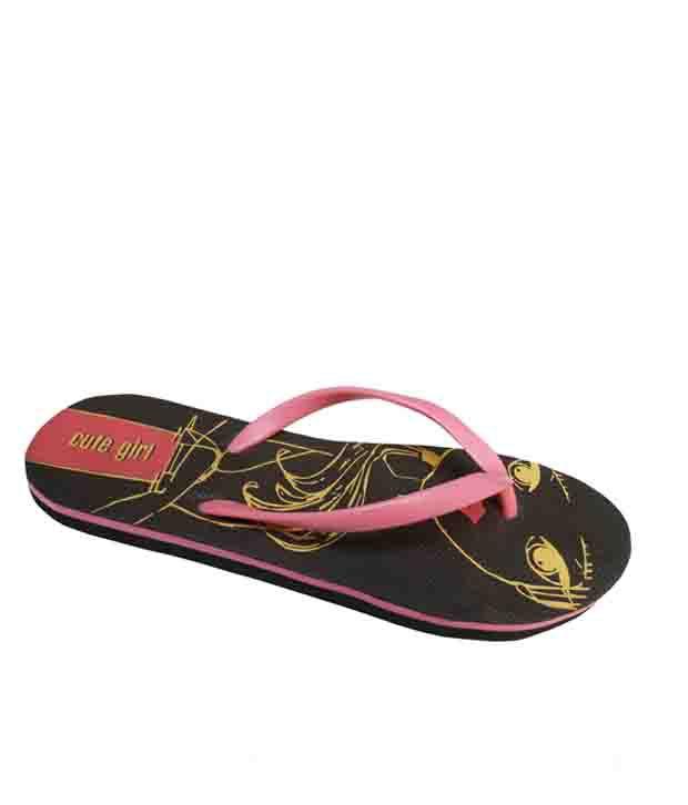 Unispeed Cute Pink And Black Ladies Flipflops