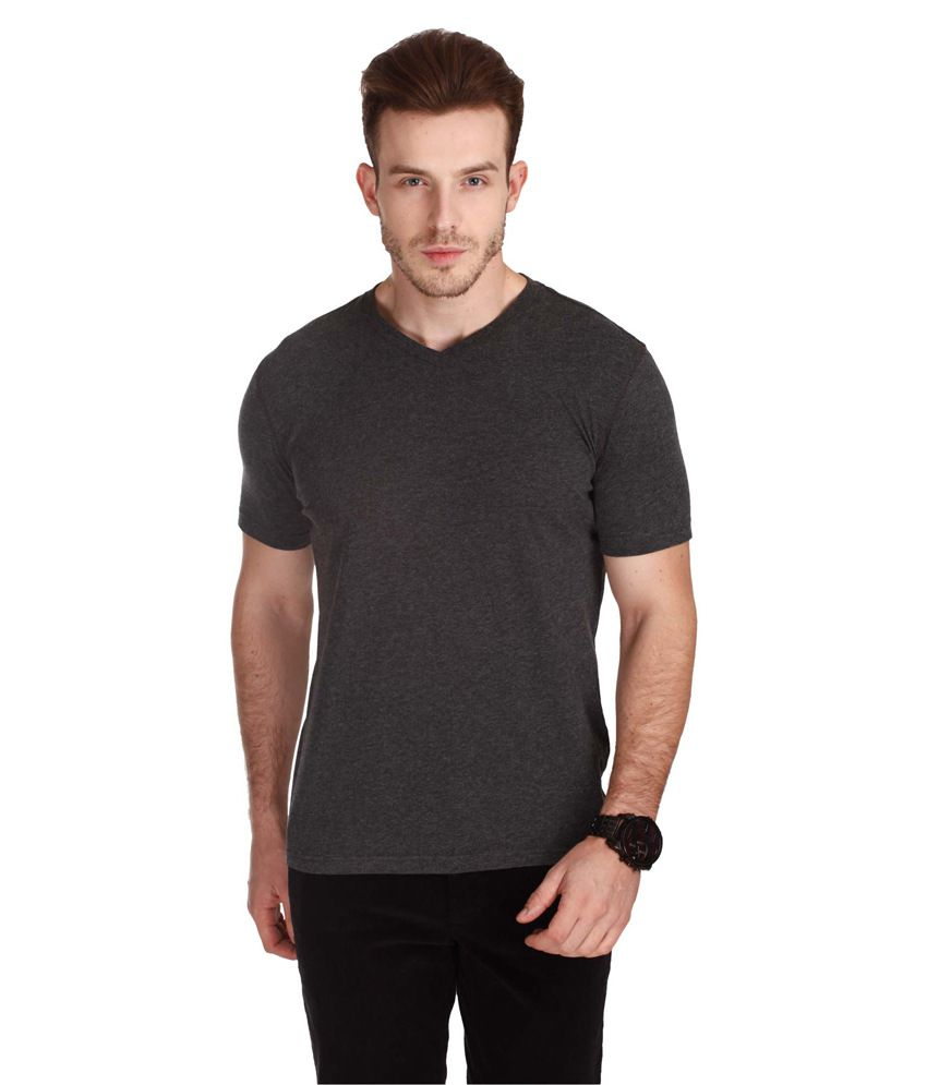 Zobello Gray Cotton V-neck Half T-shirt