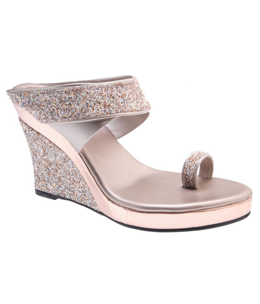 Delco Gray Wedges Heeled Slip-on