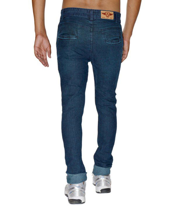 Focker Dark Blue Skinny Fit Fine Fabric Cross-cut Pocket Stretchable Jeans