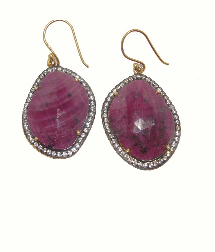 Rcb Jewellers Precious Stone Silver And 18 Ct Gold Plated Designer Earrings-a103