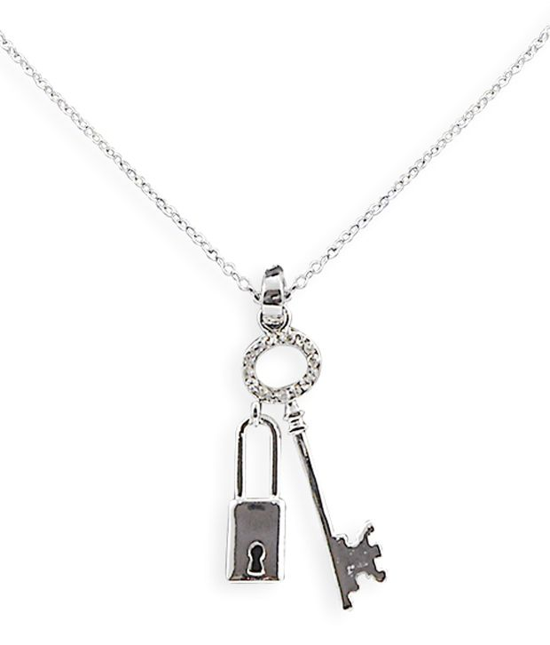 silver cubic czir sterling pendant love key lock zirconia and in