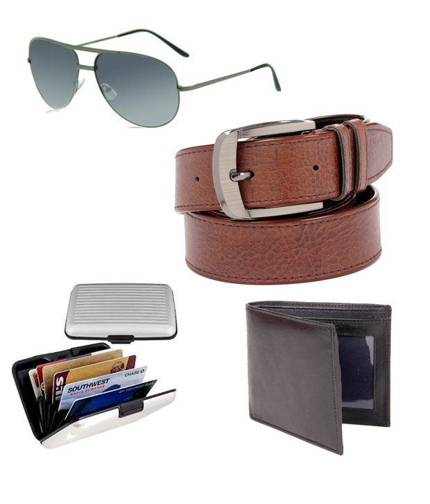 Ree Brown Casual Belt With Faux Leather Wallet, Sunglass And Card Wallet