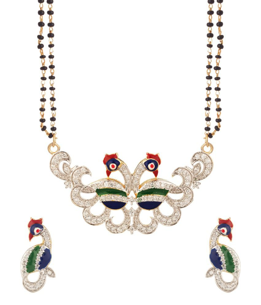Voylla Double Chain Mangalsutra Set With Peacock Motif With Enamel