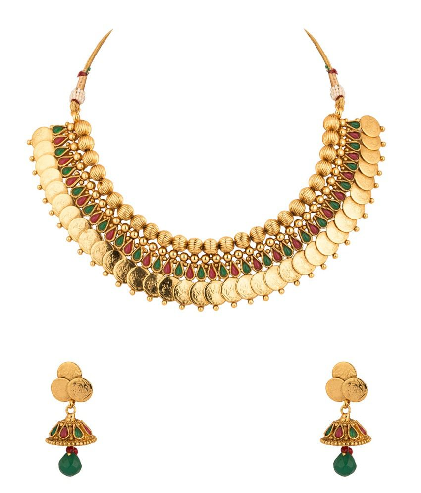 Voylla Gold Plated Coin Collection Necklace Set With Pink And Green Color Stones