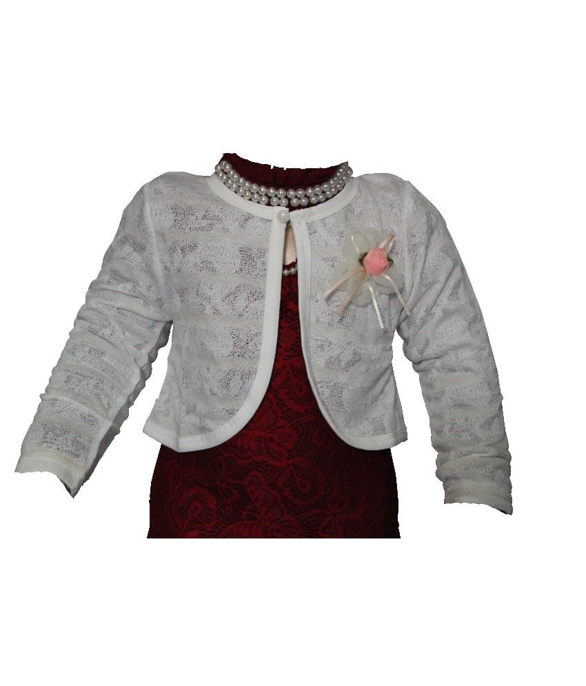 Habooz Full Sleeves White Color Shrug For Kids - Buy Habooz Full Sleeves  White Color Shrug For Kids Online at Low Price - Snapdeal 78691b66b