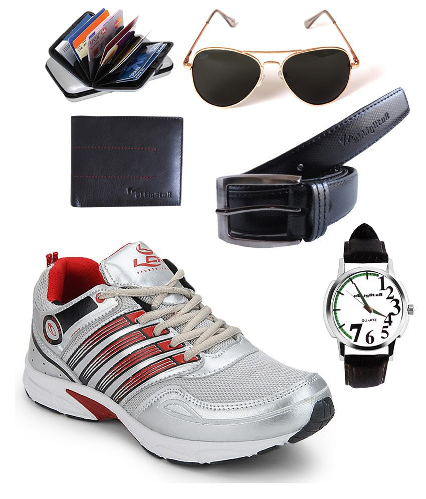 Lancer Red And Silver Shoes Combo Of Elligator Sunglass, Watch, Belt, Wallet And Card Holder