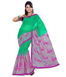 Prafful Green Jute Silk Printed Saree With Unstitched Blouse Piece