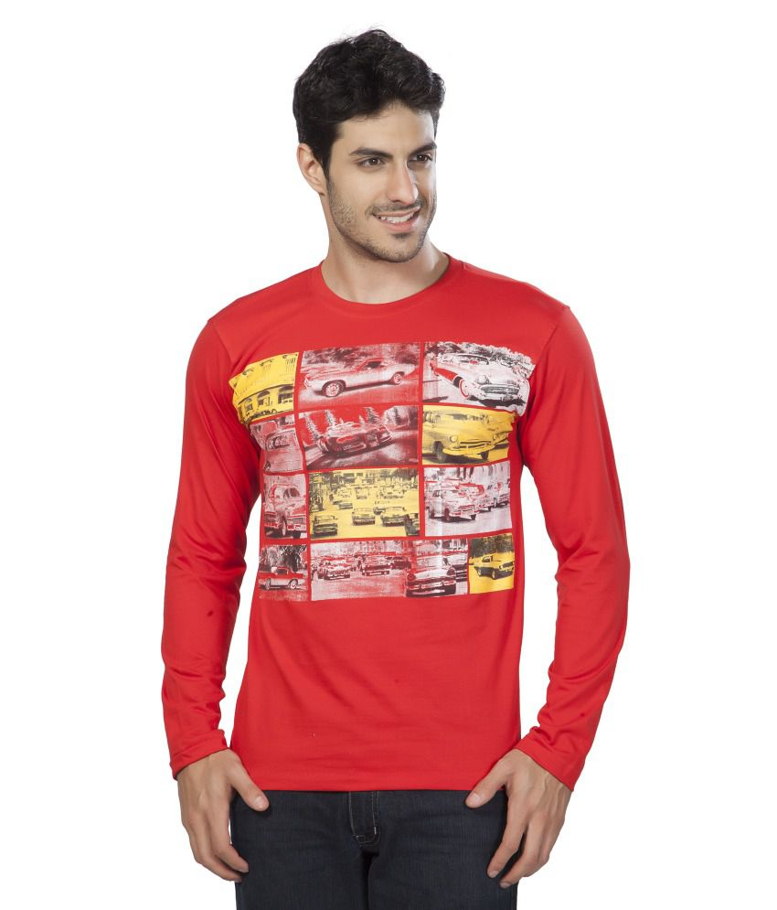 Ajc Printed Red Full Cotton T-shirt