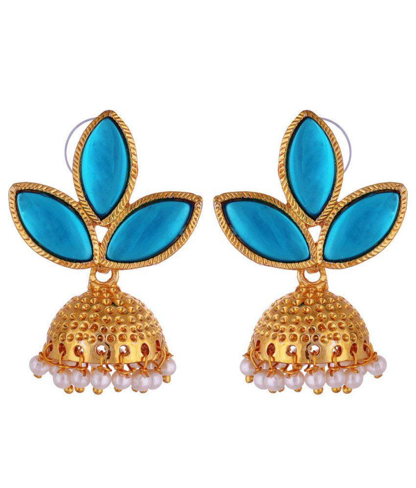 Kshitij Classic Blue Gold Plated Jhumki Earrings