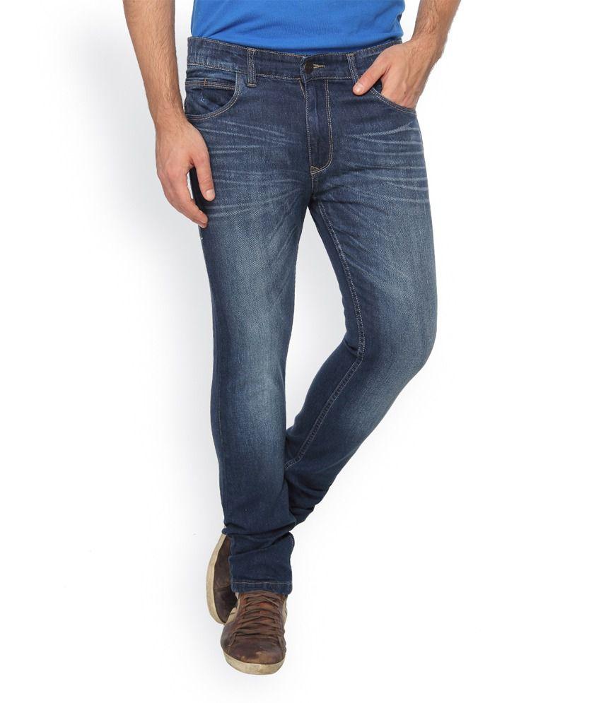 Le Bison Blue Cotton Blend Jeans