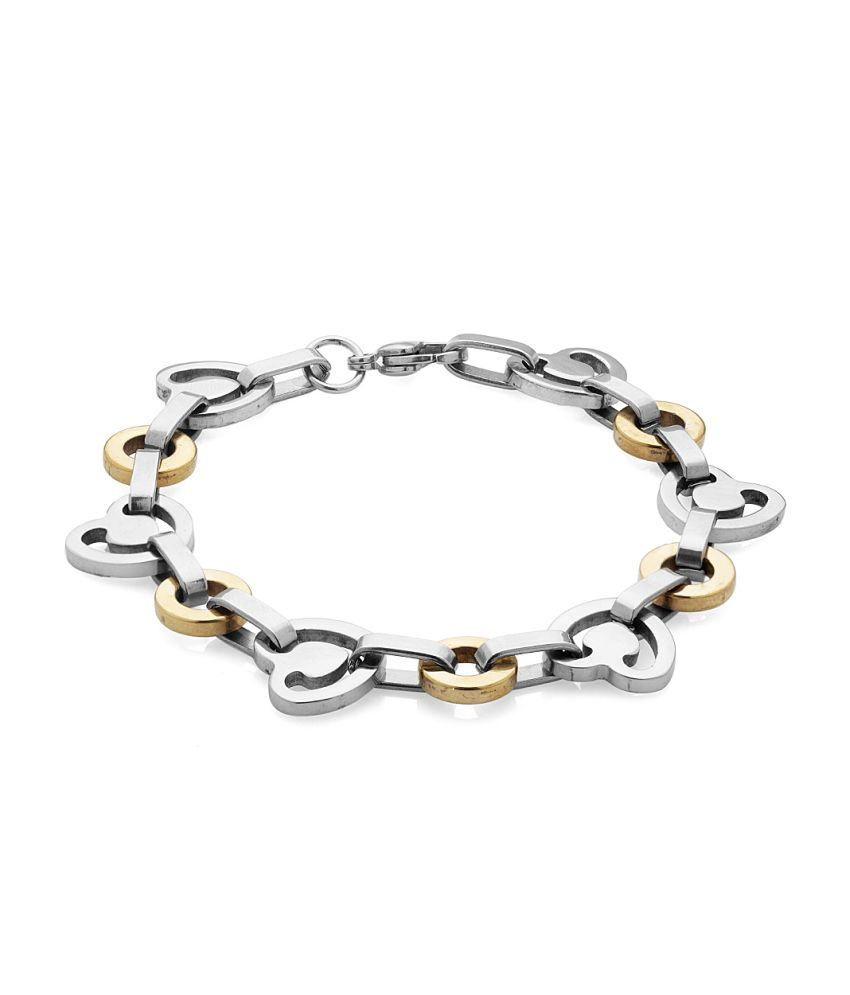 Voylla Mens Link Bracelet With Heart And Round Shaped Links