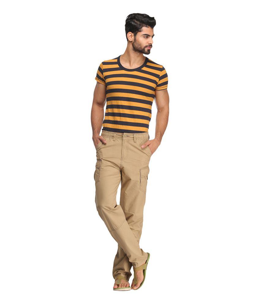 Bornfree Fashions Beige Cotton Casual Cargo