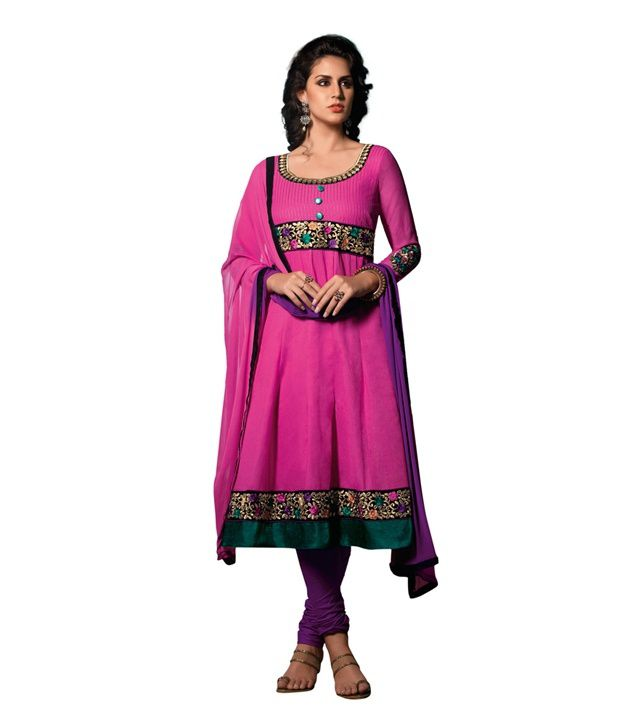 Cotton Bazaar Pink Colored Cambric Cotton Embroidered Semi-stitched Salwar Suit