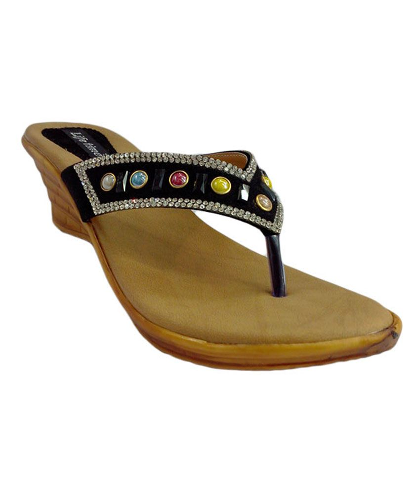 Shoe Centre Black Multistone Studded Burmi
