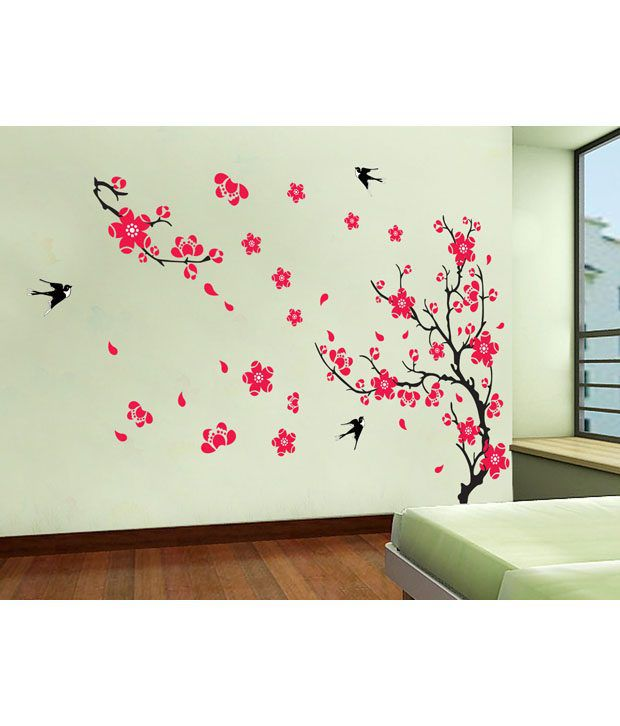 Wall Decor Stickers Snapdeal : Uberlyfe red flowers wall sticker buy