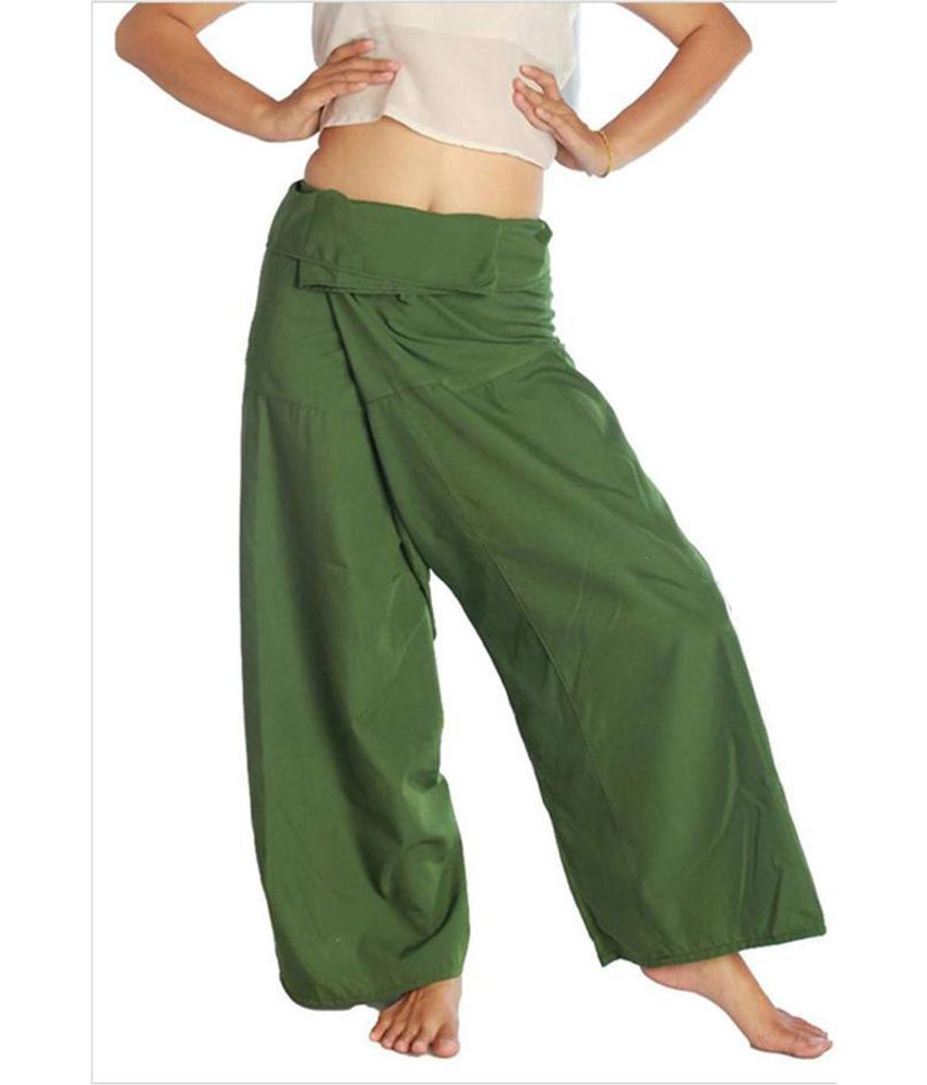 Hara Green Cotton Blend Unisex Thai Pant