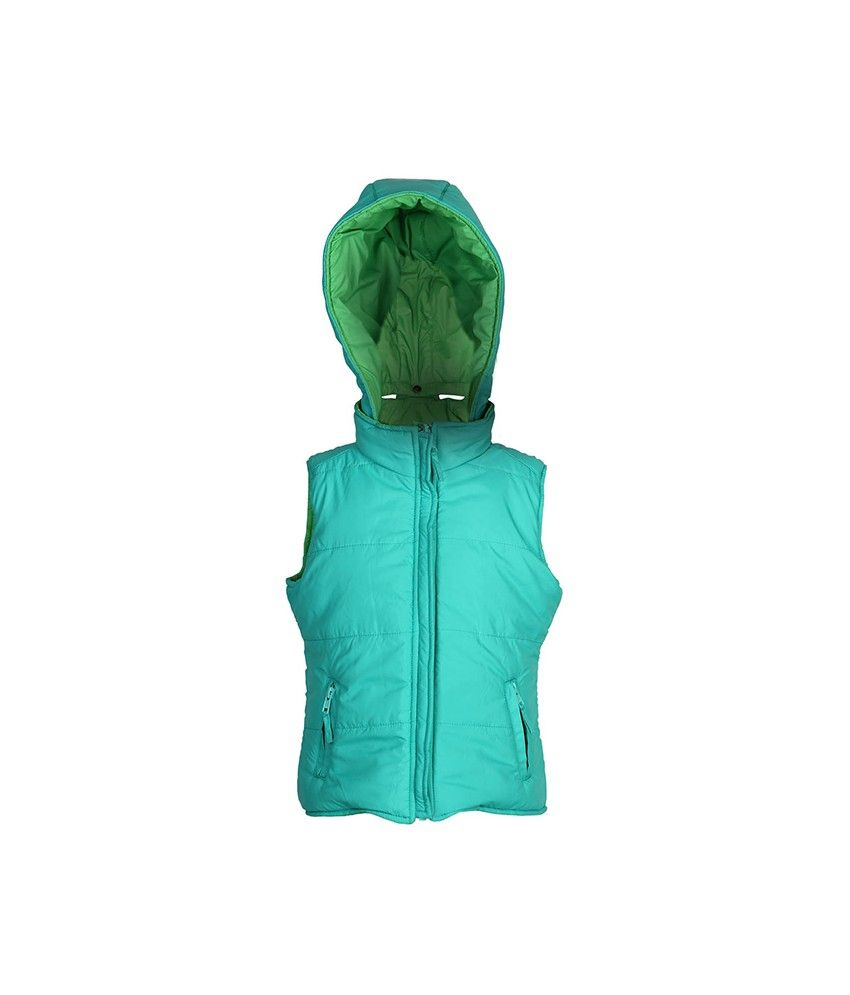 Ello Sleeveless Green Color With Hood Padded Jackets For Kids