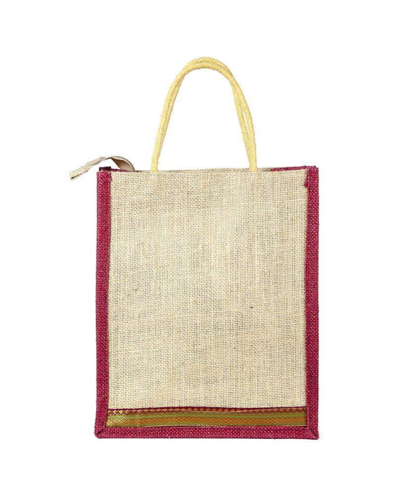 We Make Memories Maroon Jute Hand Bag