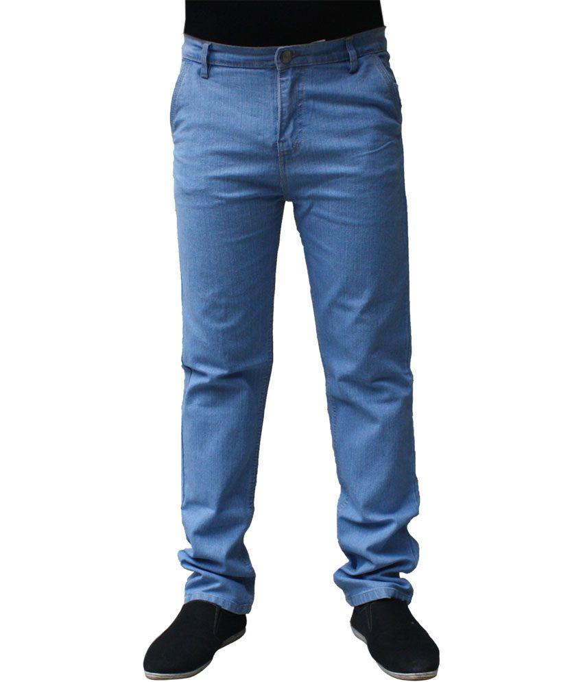 Ben Carter Blue Cotton Slim Fit Jeans For Men