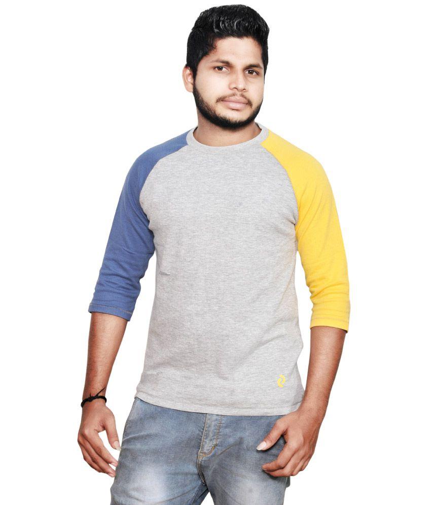 Denizen Mens Cotton Grey Full Sleeves T-shirt