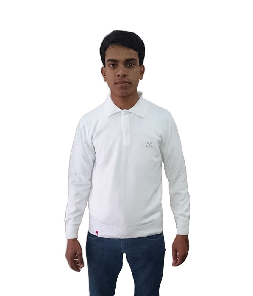 Mufti White Cotton Full T-shirt