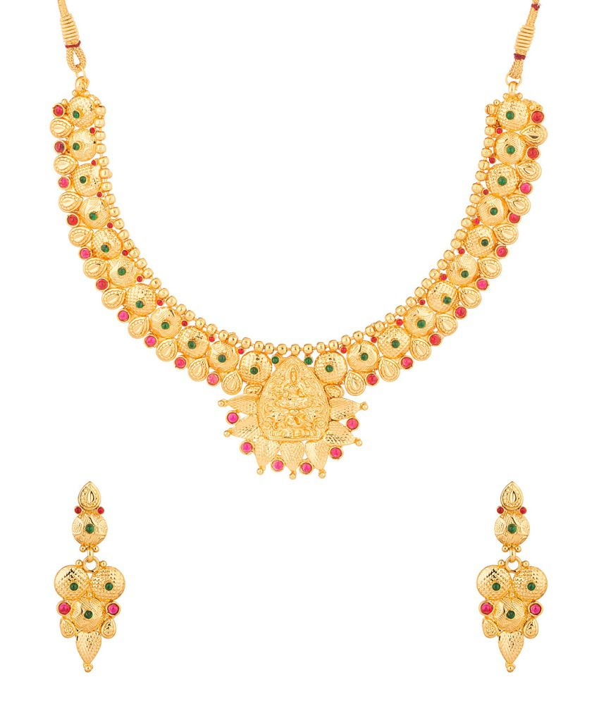 Voylla Exclusive Temple Design Inspired Necklace Set Decorated With Colored Stones
