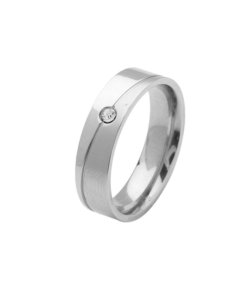 Voylla Men's Band Ring With Silver Tone And Sparkling Cz, Size 22.0