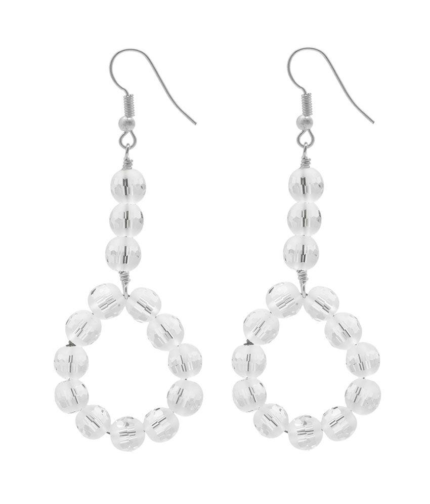 Gemtogems Rock Crystal Quartz 92.5 Sterling Silver Drop Earring