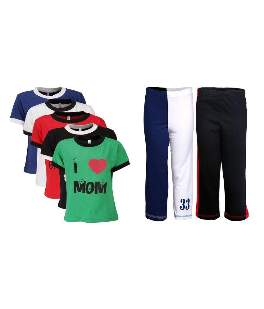 Goodway Pack of 7 Boys MND 5Pack Tee  &  Boys 2Pack Fashion Full Pant Combo Pack