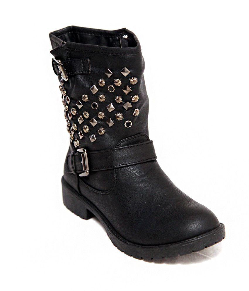 Seasonfootwear Black Faux Leather Studs Motor Biker Western Women Boots