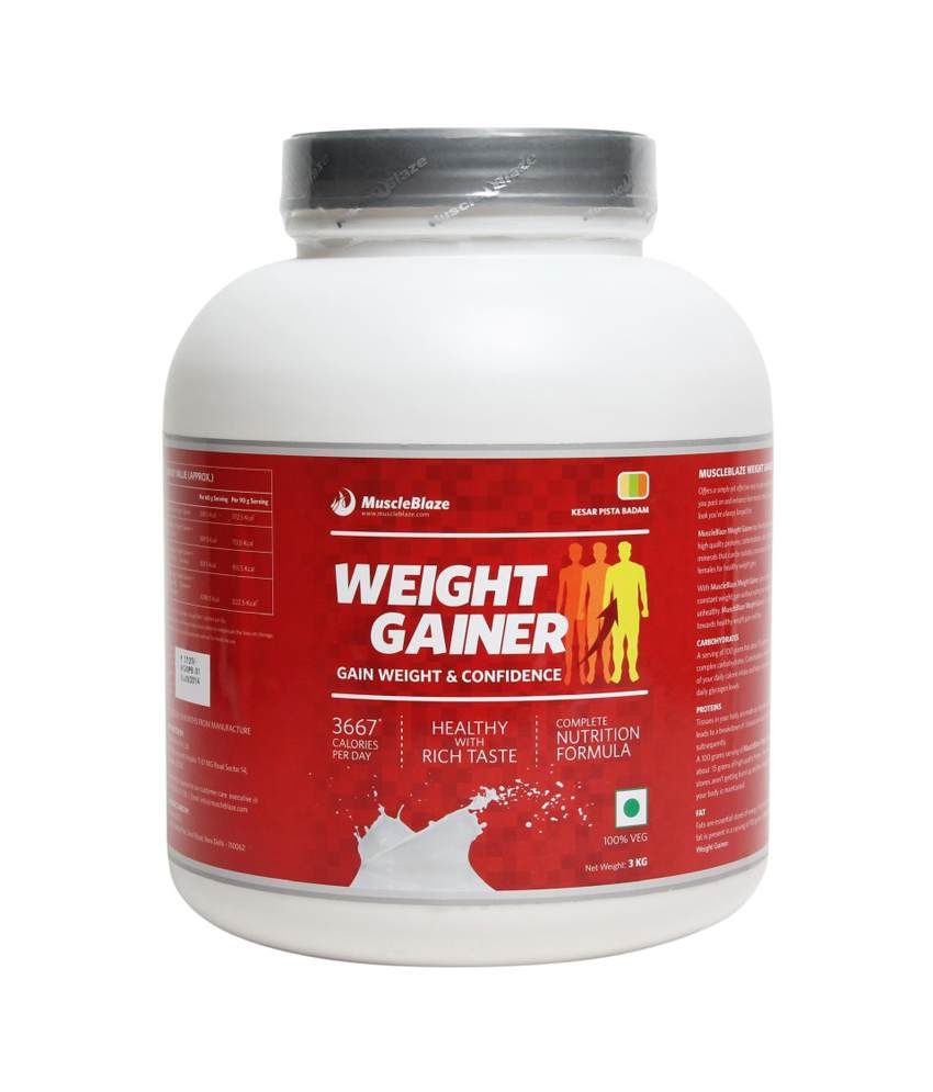 MuscleBlaze Weight Gainer 6.6 lb/ 3 kg,100 Servings (Kesar