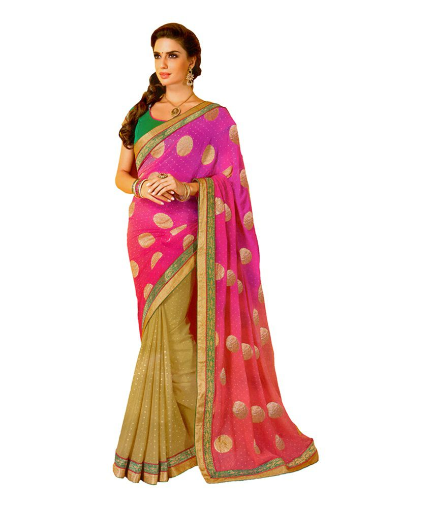 c1206d8f37508 Vijay Brothers Pink and Beige Fancy Work Banarasi Georgette Sarees With Blouse  Piece - Buy Vijay Brothers Pink and Beige Fancy Work Banarasi Georgette ...