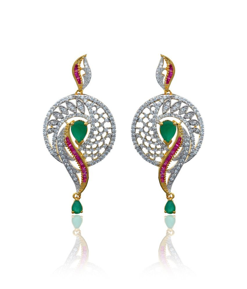 Zaveri Pearls Multicoloured Cz Diamond Earring