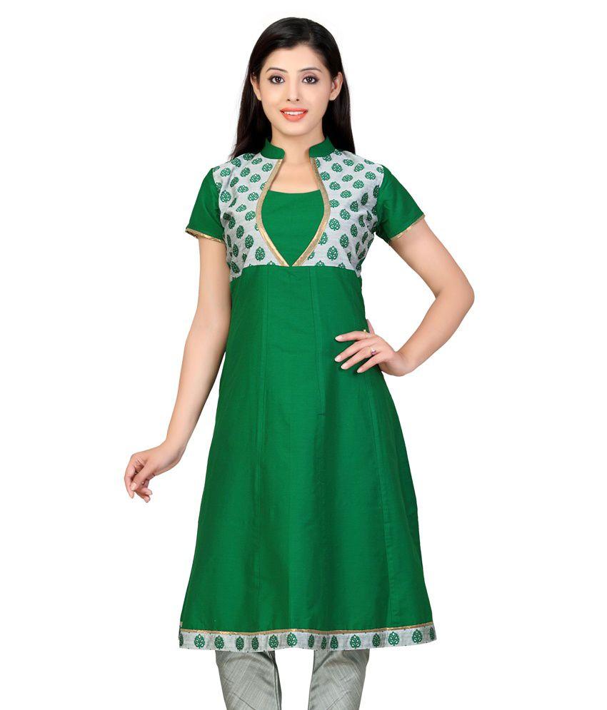 Lifestyle Retail Green Silk Chinese Collar Half Sleeves Long Kurti