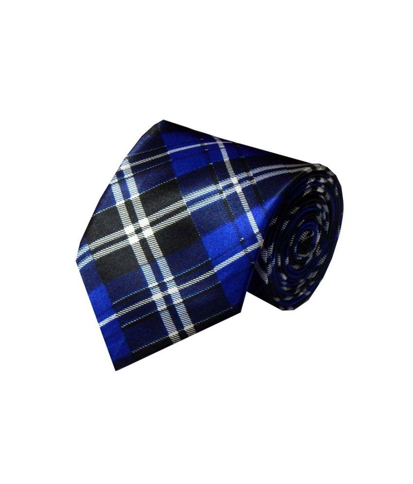 Navaksha Blue Polyester Tie