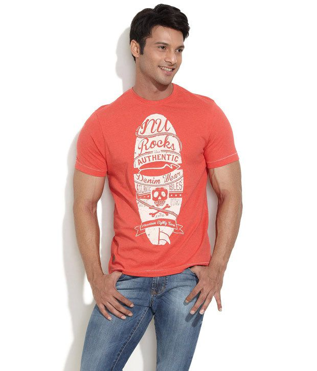 Numero Uno Red Half Cotton Blend Round T-Shirt