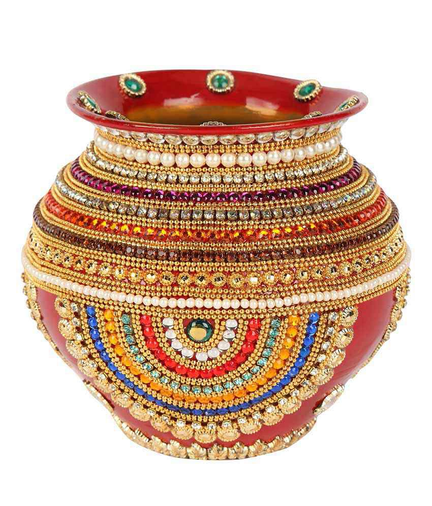 Suman Creations Red Large Copper Kalash