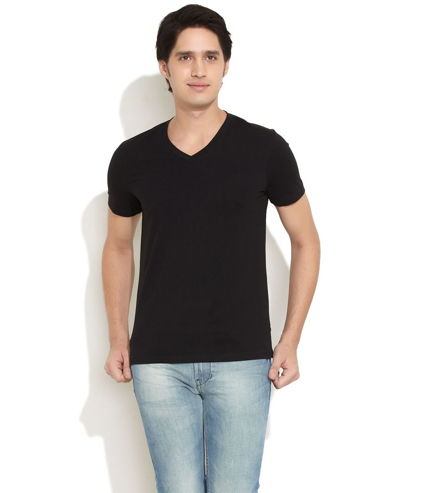 Freecultr black solid cotton spandex t shirt buy for Cotton and elastane t shirts
