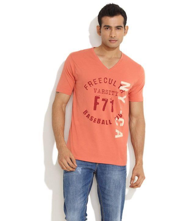 Freecultr Orange Varsity Cool Printed T-Shirt