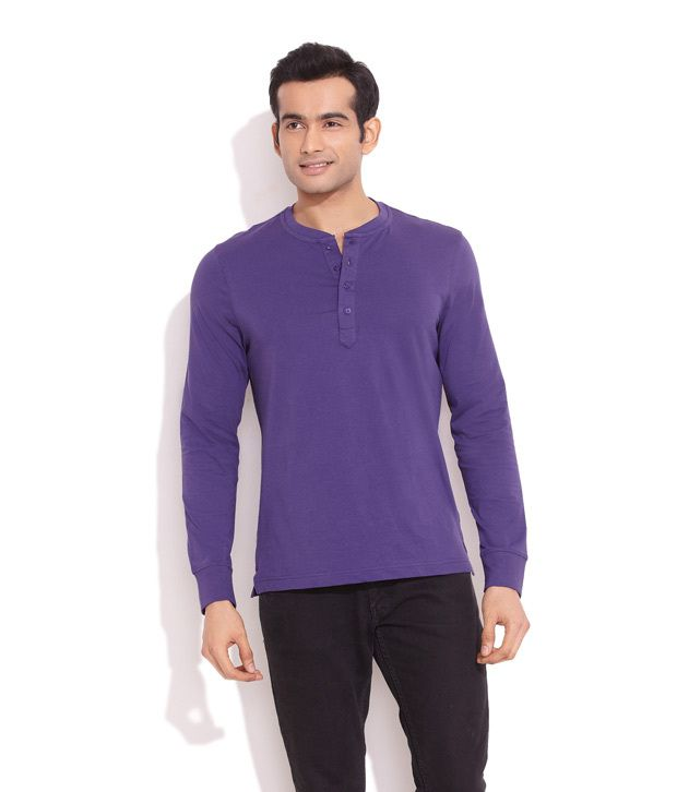 Freecultr Purple Off- Duty Henley Shirt