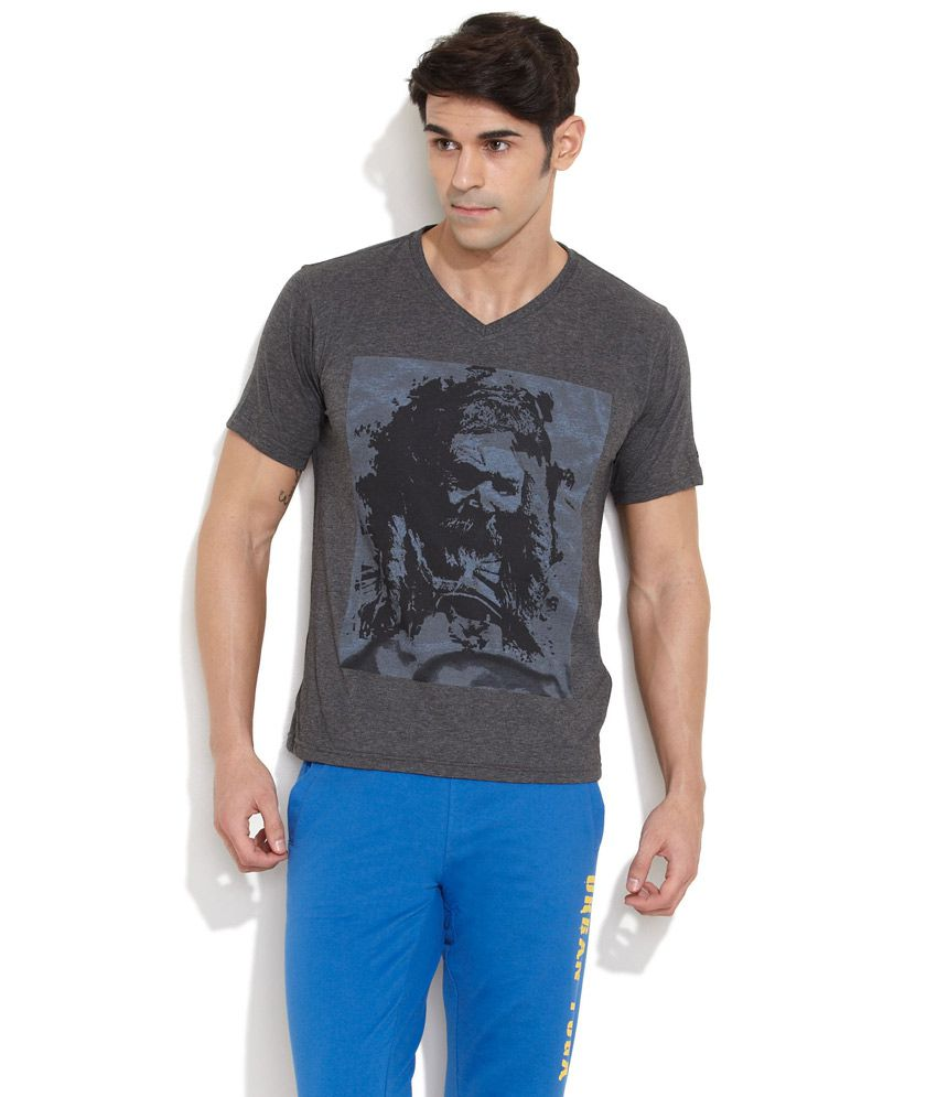 Urban Yoga Light Grey Mix Of Melange V-Neck T-Shirt