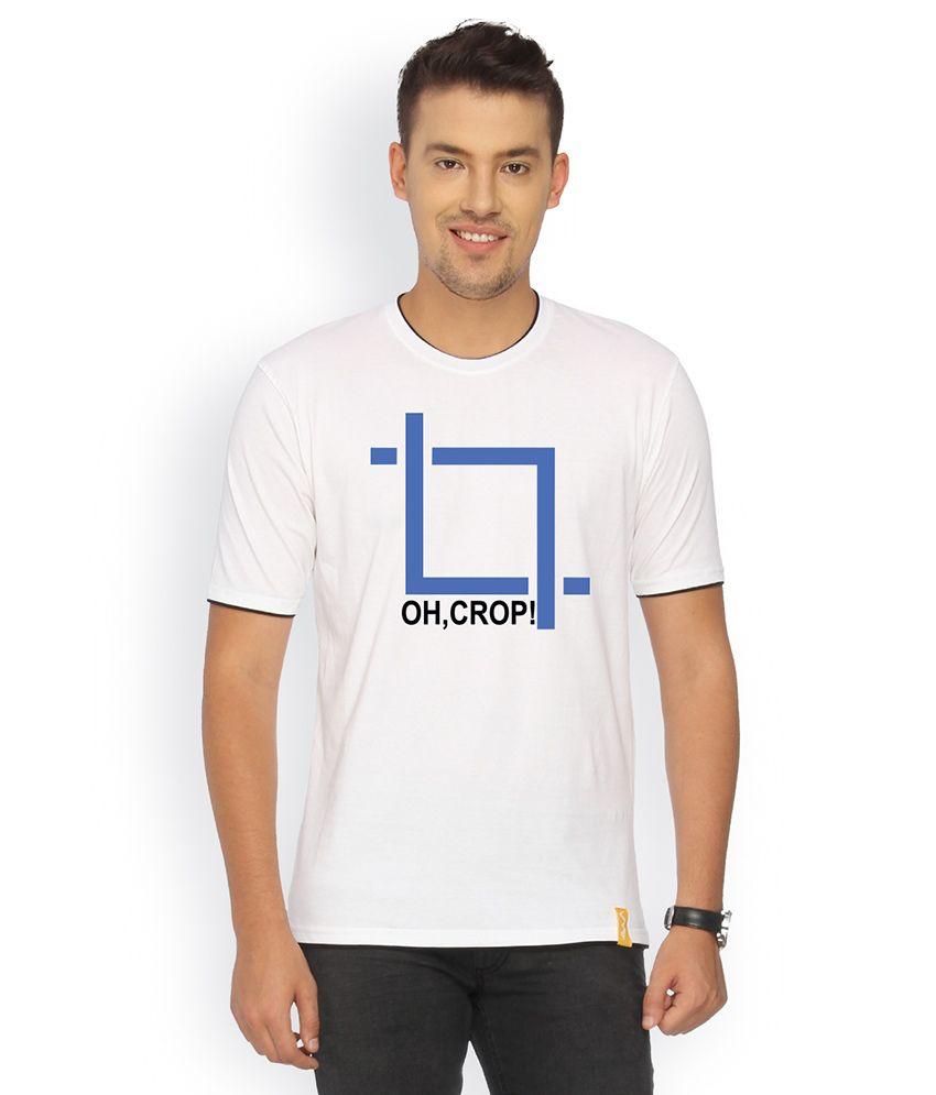 Campus Sutra White Cotton T-shirt