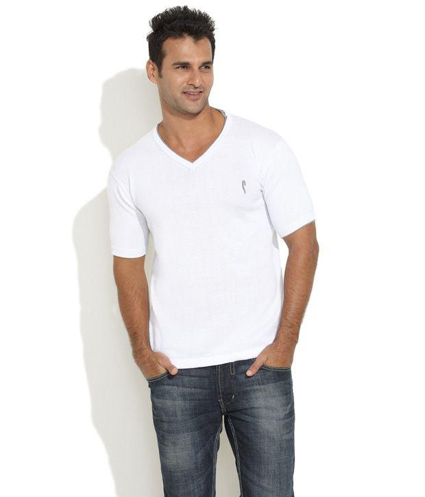 Stride White Very Dapper V-Neck Knit T-Shirt
