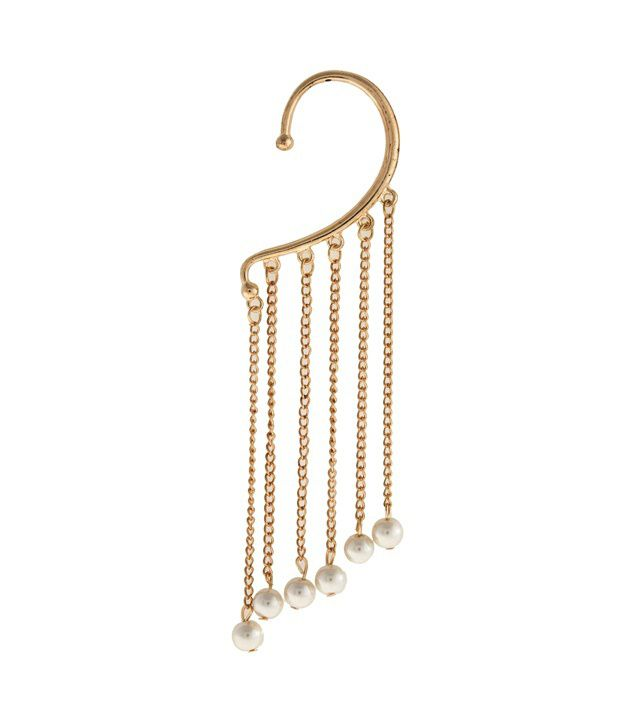 Jewel Touch Gold Colour Tassels Decorated With Pearl Drop Ear Cuff