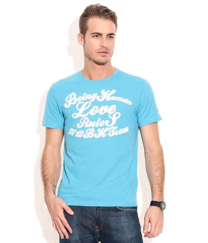 Being Human Blue Cotton T-Shirt