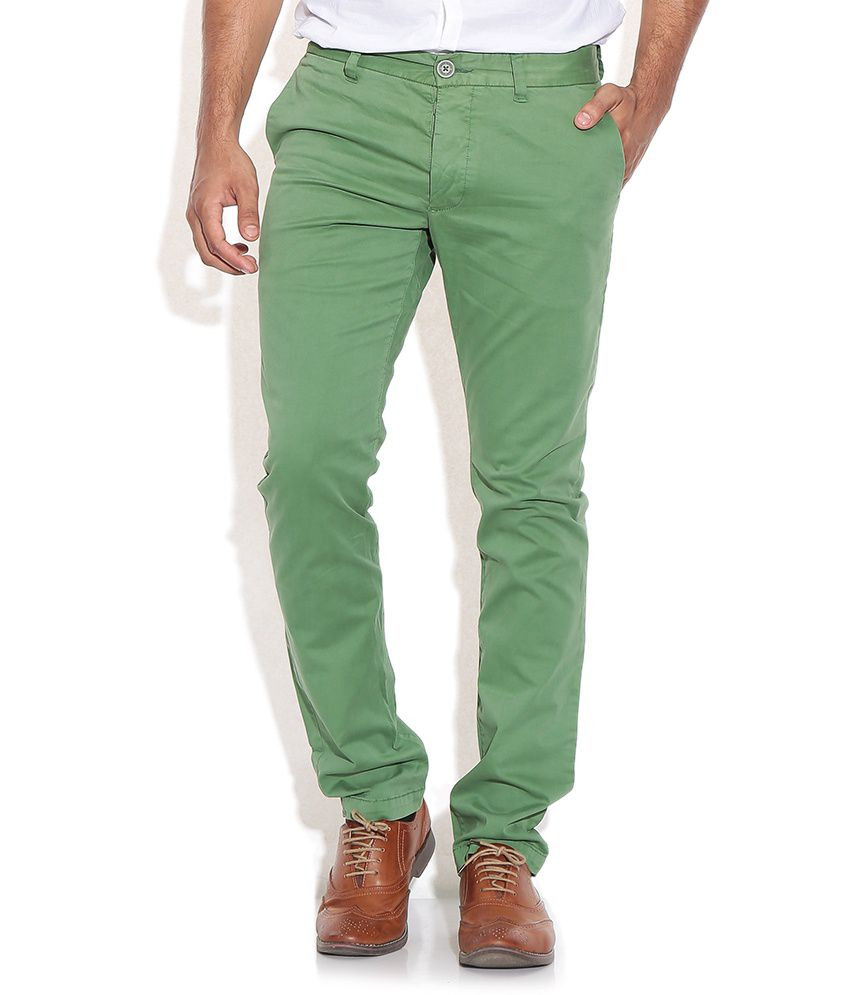 Being Human Green Regular Fit Casual Trousers