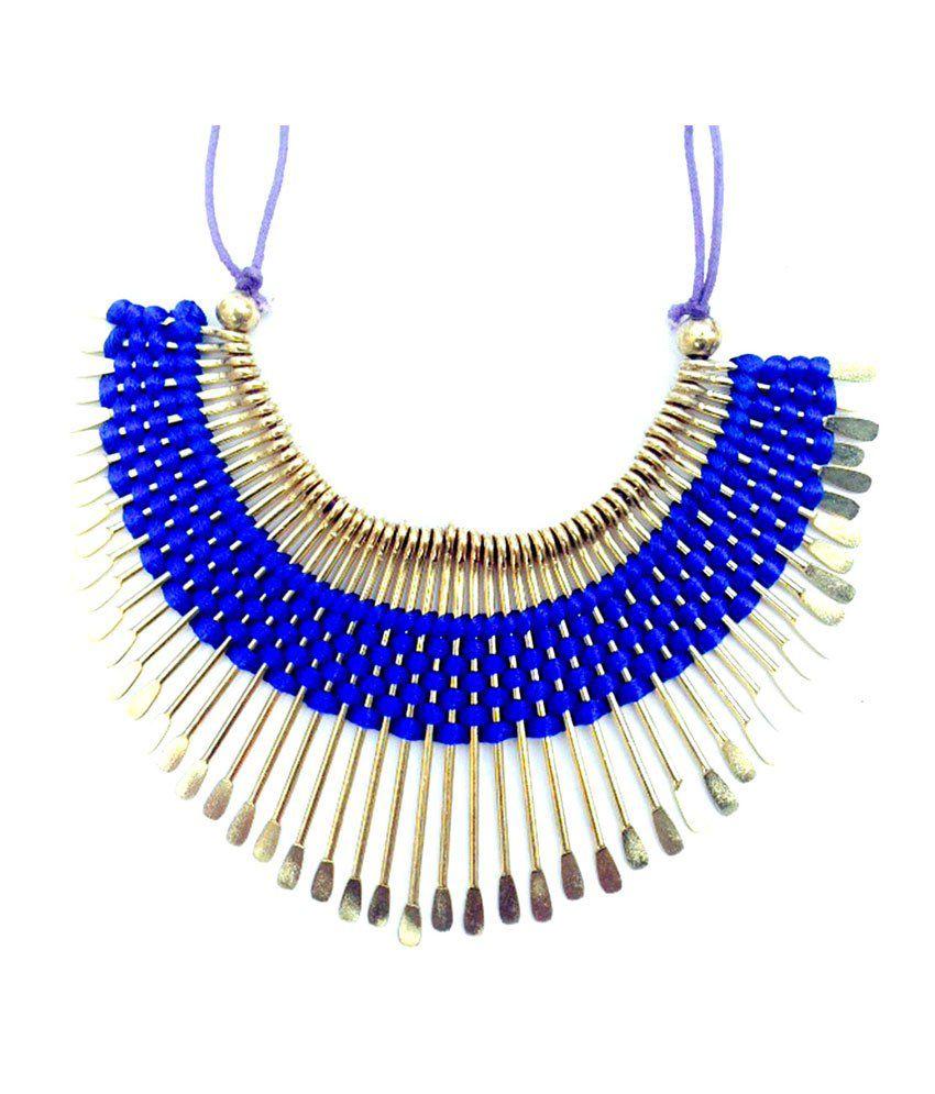 Jocular Blue And Gold Stylish Neckpiece
